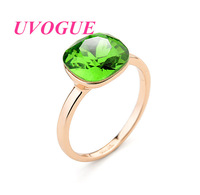 New top quality 18k rose gold plated  Austria SWA square crystal Geometric fashion vintage  women finger ring (UVOGUE UR0042)