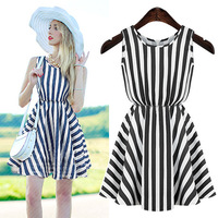 2014 summer new European style gentlewoman casual round neck dress striped slim Was thin sleeveless vest dress
