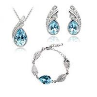Fashion 18K white gold plated austria crystal women Angel elves pendant necklace/earrings/bracelet bride wedding Jewelry Sets