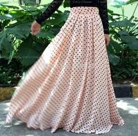 2014 summer new womens fashion pink dot dots maxi long skirt print floor length casual pleated brand chiffon skirts plus size