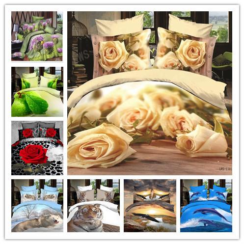 3d bed sheet set/gold comforter Cover set/bedroom linen/rose flower print bedding/200*230cm duvet cover queen princess(China (Mainland))