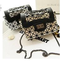 2014 new fashion women's classics quilted chains shoulder bag striped bag mini female messenger silver bag gold handbags