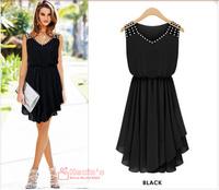 Summer dress 2014 New women's Fashion temperament Diamond Pleated chiffon Sleeveless V-neck strap Slim irregular Dress