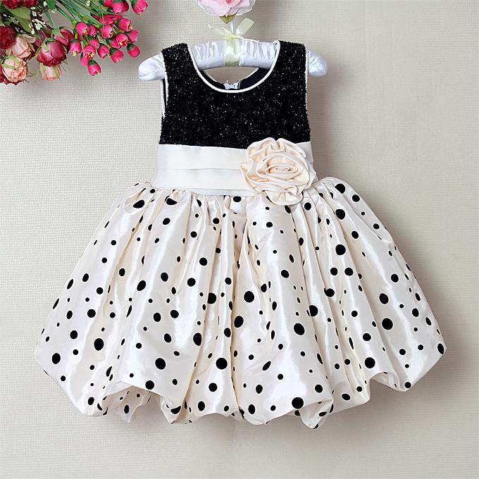 2014 Baby Girl Dress black dot Girls Princess Dresses For Kids Clothing Girls' Dresses Costumes(China (Mainland))