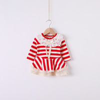 2014 New autumn,baby girls striped dress,children cotton floral dress,long sleeve,lace,bow,red/blue,5 pcs / lot,1484