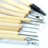 11pcs/set Wood Handle Wax Pottery Clay Sculpture Carving Modeling Tool DIY Craft Set