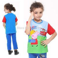 2014 Summer New Children's T-shirts Cartoon Design Fashion European Style Alphabet Boys Round Neck Short Sleeve T-shirt