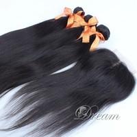 Center Part (4*4 ) Top Lace Closure Peruvian Hair Weft Virgin Human Hair Extensions 120% Density 4pcs/lot Qingdao Factory Sale