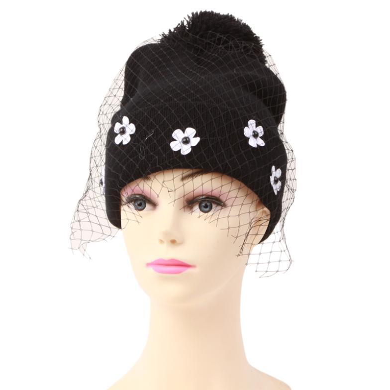 Knitting Pattern Cotton Children Winter Knitted Hats Kids Girl's Flower Mesh Caps Beanies Skullies Black(China (Mainland))