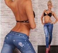 2014 New ashion Women Wash Blue Faux Denim Skinny Leggings Printed Stretchable Pencil Pants Plus Size Drop Shipping YS8125