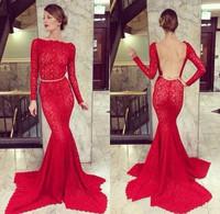 2014 Charming Red Mermaid Backless Elie Saab Dresses for Sale Long Sleeves