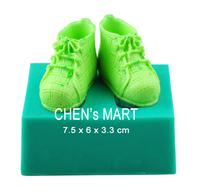 Free Shipping 1 PC Baby shoe shape Fondant 3D DIY Silicone Mould Cake Decoration Sugarpaste Icing