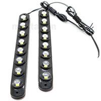 One Pair 8 LED Universal Aluminium 8LED 16W Car Daytime Running Light DRL Fog Warning Bumper Decorative eagle eyes Lamp