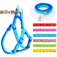 Star Print  Nylon Dog Pet Harness & Walking Leash Set Variety of Colors S\M\L