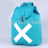 Canvas backpacks drawstring female one piece rucksack mochila bagpack knapsack fashion BLUE women sports shoulder bags bp0205