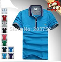 New brand  2014 Men's short sleeve T-shirt cotton pure color spell collar short sleeve POLO shirt collar T-shirt plus-size