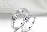Romantic Luxury Style Intimate Love Wedding Ring Rhinestone Embedded Couple 925 Silver Plated Ring For Women Size 5-7 JE5002