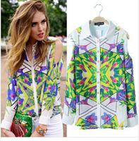 Hot sale new fashion new women chiffon shirt geometric print blouse chiffon strapless long-sleeved shirt collar