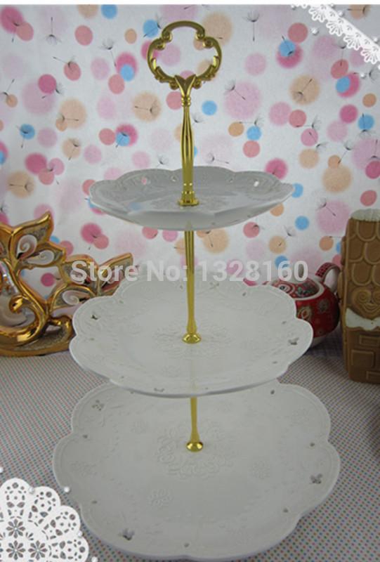 2014 European Three layer series ceramic plate Candy dish white cake plate wedding gift(China (Mainland))
