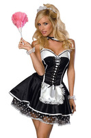 6 pcs set  Woman French Maid Cosplay Costume Halloween Waiter Fancy Dress Sexy Beer Sister Game Uniform Clubwear Black White