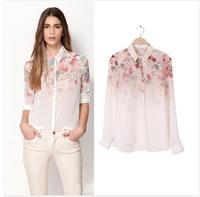 2014 White See-Through Women Loose Button Down Shirt Blouse Lapel Chiffon Floral Shirt free shipping