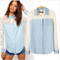 High quality fashion new women lace shirt Openwork stitching lace long-sleeved hot sale female shirt free shipping