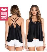 Export brand 2014 Womens black back cross backless vest sun-top womens falbala irregularity tanks tops