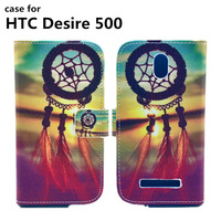 Sale New arrival PU leather Phone cases Vintage scenery print case for HTC Desire 500 Wallet Case Cover with Card Holder Stand