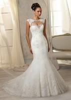 High quality sexy lace mermaid detachable straps wedding dress