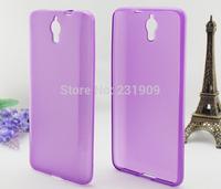 Flexible Glossy Rubber Slim Back TPU Soft Matt Skin Cover Anti-skid Gel Case For Alcatel Idol X+ OT-6043D Purple,Free Shipping