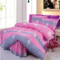 Pure Cotton Bedding Set Duvet Cover Set Brief Comfortable Bedspread Bedsheet Printed Bedskirt Bed Sheet Home Textile 4Pcs