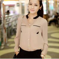 Women Clothing Limited Button Regular Solid Kimono 2014 blouse Selling Good Quality Fashion Ol Shirt  free shipping