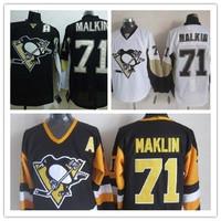Wholesale Cheap Pittsburgh Penguins Hockey Jerseys #71 Evgeni Malkin Jersey Black Color 100% Stitched