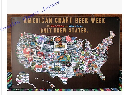 Free shipping Creative map of beer tin sign , AMERICAN CARFT BEER WEEK MAP home Wall Decoration Retro Metal Art Poster 30x20cm(China (Mainland))