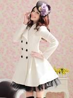 Casacos Femininos 2014 Winter Trench Coat For Women Women's Coats Wool Female Coat Plus Size XXL White Red Black Fast Ship