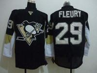 Wholesale!Free shipping!Cheap Pittsburgh Penguins 29 M. Fleury black jersey men's ice hockey jerseys
