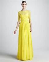 yellow lace long sleeve bridesmaid dresses