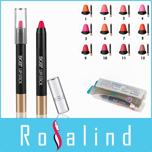 Rosalind New 2014 BOB Brand Lipstick High Gloss Lip Color Lip Crayons Lip Tint 12 Colors Optional Free Shipping(China (Mainland))