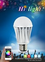 Free shipping E27 small power 7W (3528*10Pcs+5050*5pcs)Bluetooth RGBW LED Bulb