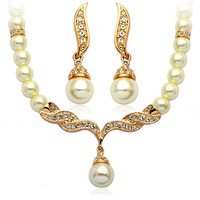 Wholesale 18K Gold White Gold Plated Crystal Pearl Wedding Bridal Jewelry Sets 1271S