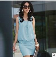 PROMOTION!!!2014 Summer Women's Mini Dresses Crew Neck Chiffon Sleeveless Causal Tunic Sun Dress 4 Colors S M L XL free Shipping