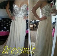 Gorgeous Rhinestone Beading Sweetheart Draped Chiffon Floor-length Long Prom Dresses 2014 long bridesmaid dress