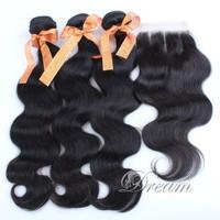 Three Part (4*4 ) Swiss Top Lace Closure Body Wave Hair Weft Peruvian Virgin Human Hair Grade 5a 4pcs/lot  UPS / DHL  Stock