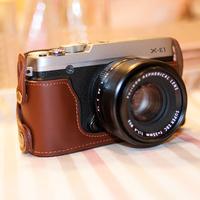 Cowhide fuji x-e1 x-e2 camera bag genuine leather the base xe1 xe2 set belt guard