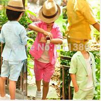 ST057 Free Shipping Retail Children Clothing Set Baby Sets Short Han Edition Boy Pants Suit Coat Shirt+Pants 2pcs Set Kids Suit