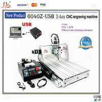 Free Shipping!CNC Router 6040 Z-USB Mach3 Control engraving machine with 1.5KW VFD spindle and auto-checking tool, with USB port