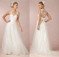 A-line wedding dresses! High quality V-neck see through back embroidery ribbon dress classic design custom made organza gowns