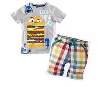ST037 Free Shipping Boy's Summer Clothing Sets Children's Apparel Suit Kids Sets Short-Sleeve Hamburg T-shirts + Plaid Pants Set