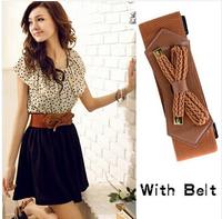 2014  Fashion Womens Summer Casual Crew Neck Short Sleeve Backless Polka Dot Pattern Chiffon Mini Dress With Belt Drop Shipping