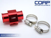 30MM WATER TEMP GAUGE RADIATOR SENSOR ALUMINUM ADAPTOR +CLAMP RED